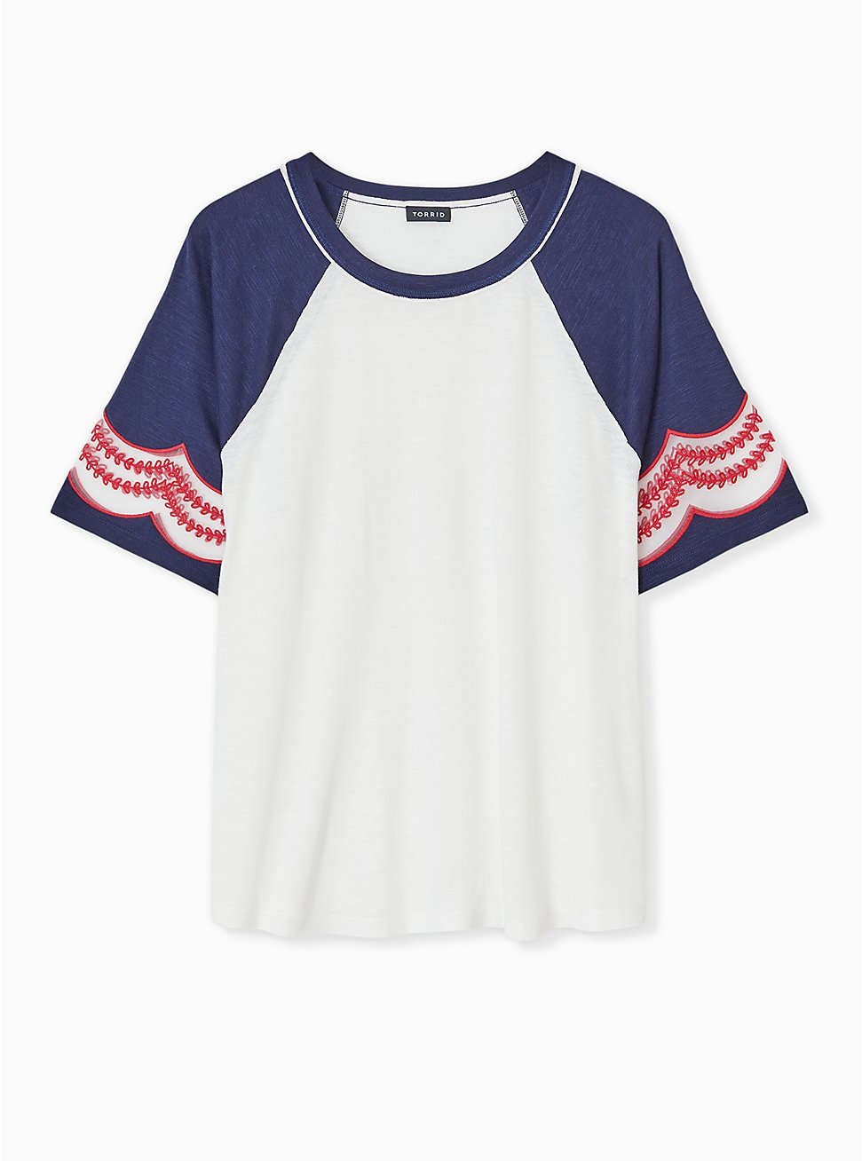 Ivory & Navy Slub Embroidered Midi Raglan Tee, CLOUD DANCER, hi-res