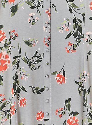 Super Soft Grey Floral Fit & Flare Button Top, FLORAL - GREY, alternate