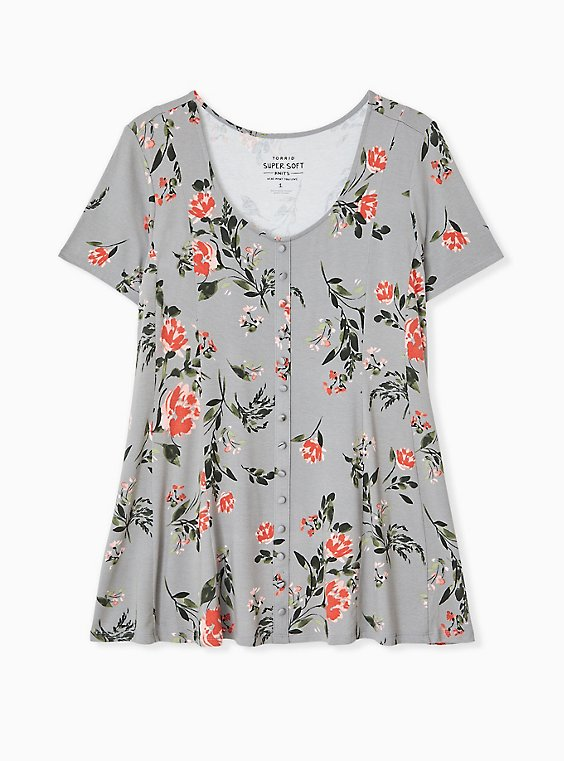 Plus Size Super Soft Grey Floral Fit & Flare Button Top, , hi-res