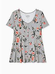 Super Soft Grey Floral Fit & Flare Button Top, FLORAL - GREY, hi-res