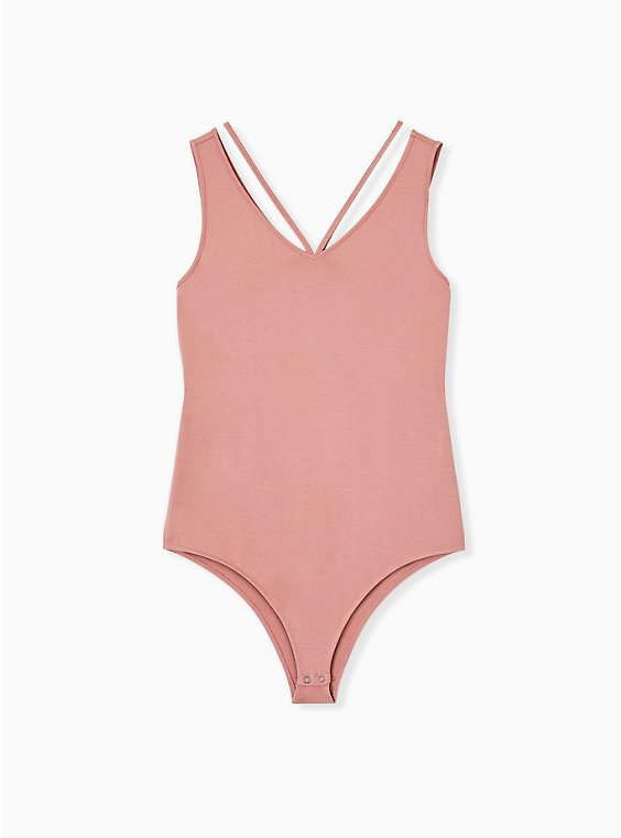 Super Soft Dusty Coral Strappy Bodysuit , , hi-res