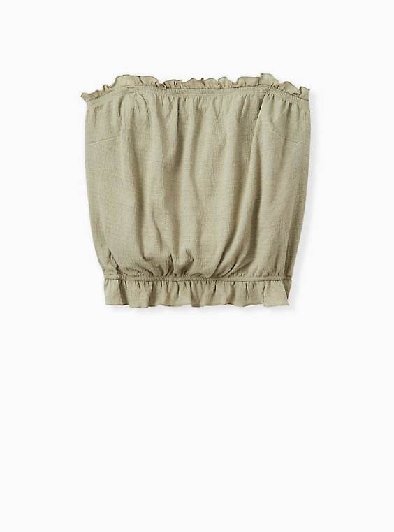 Plus Size Sage Green Textured Jersey Strapless Crop Top, , hi-res