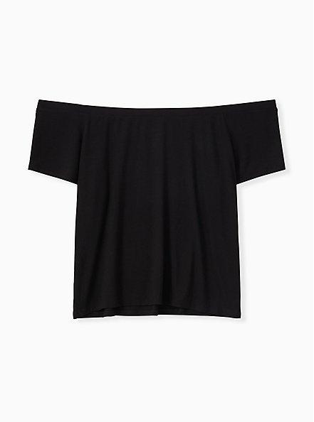 Super Soft Black Off Shoulder Crop Tee, DEEP BLACK, alternate