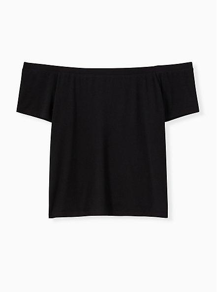 Super Soft Black Off Shoulder Crop Tee, DEEP BLACK, hi-res