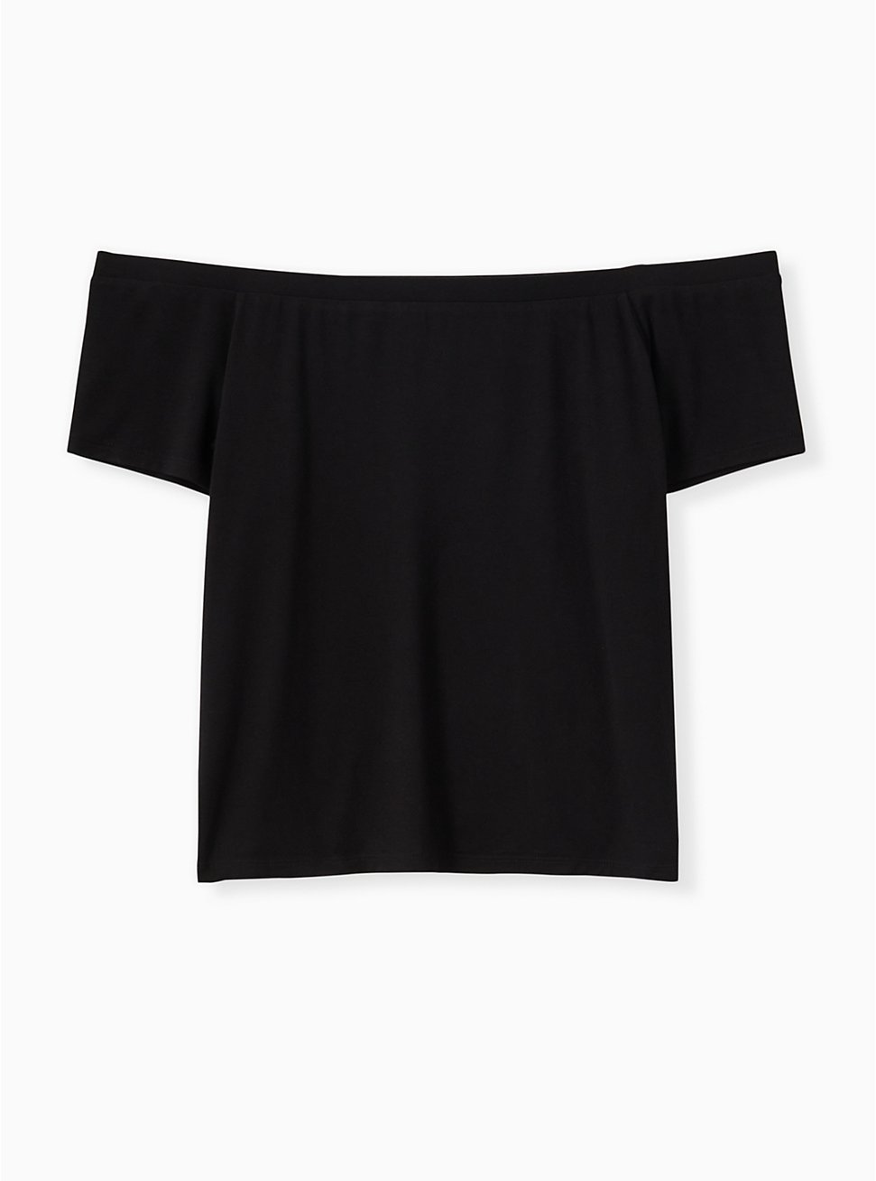 Super Soft Black Off Shoulder Crop Tee, DEEP BLACK, hi-res
