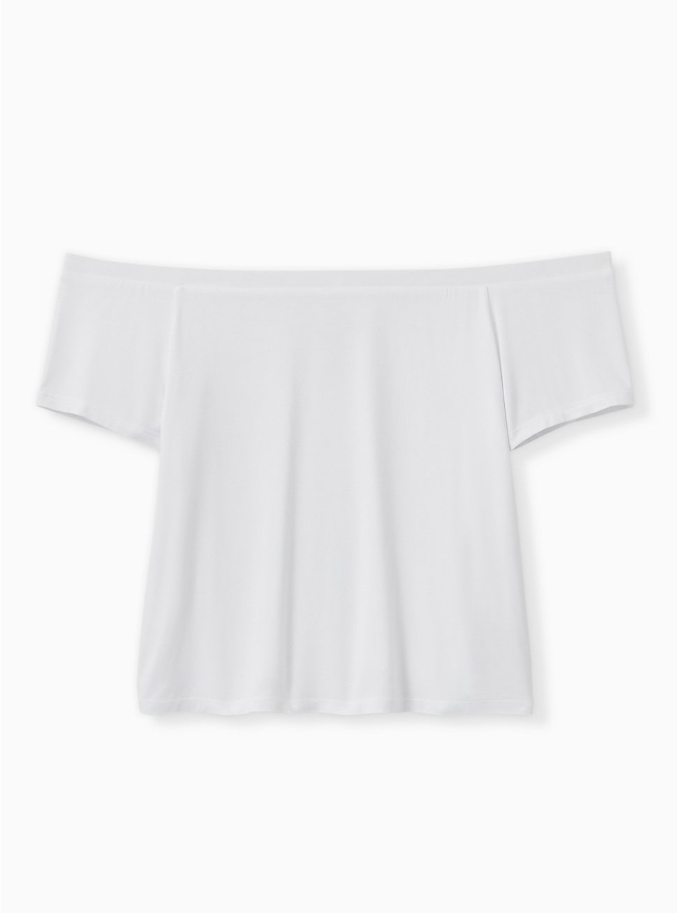 Super Soft White Off Shoulder Crop Tee, BRIGHT WHITE, hi-res