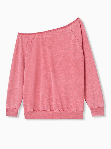 Red Washed Terry Off Shoulder Sweatshirt , AMERICAN BEAUTY, alternate