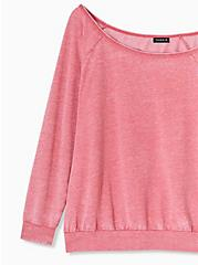 Plus Size Red Washed Terry Off Shoulder Sweatshirt , AMERICAN BEAUTY, alternate