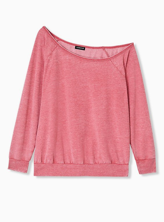 Red Washed Terry Off Shoulder Sweatshirt , , hi-res