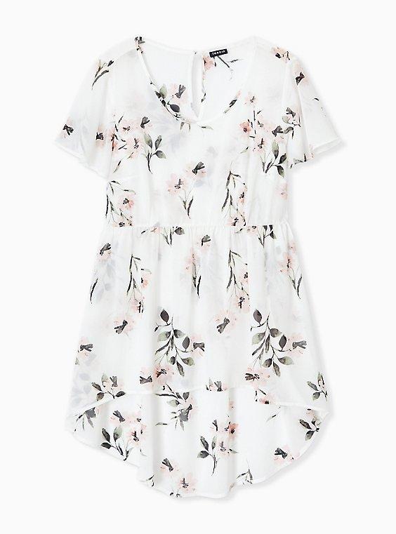 Plus Size White Floral Chiffon Hi-Lo Tunic, , hi-res