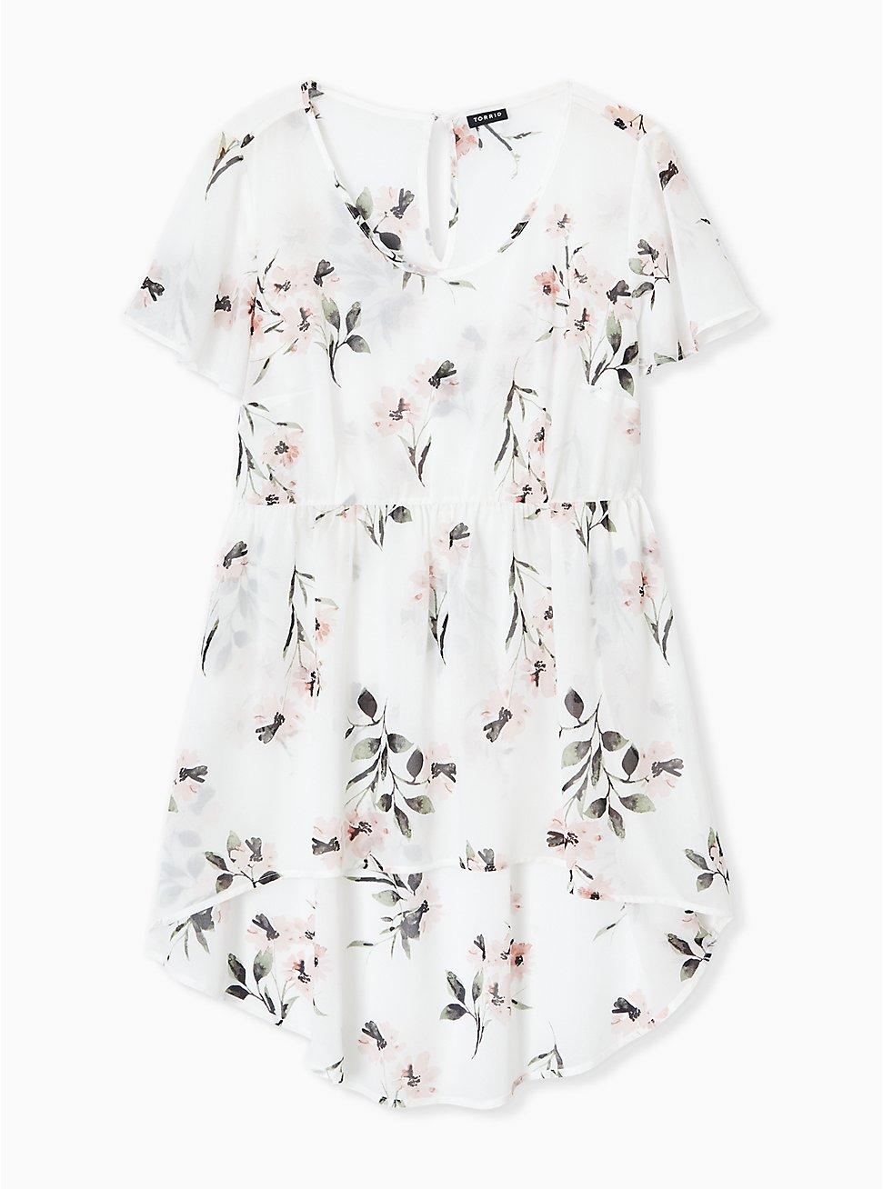 White Floral Chiffon Hi-Lo Tunic, FLORAL - IVORY, hi-res