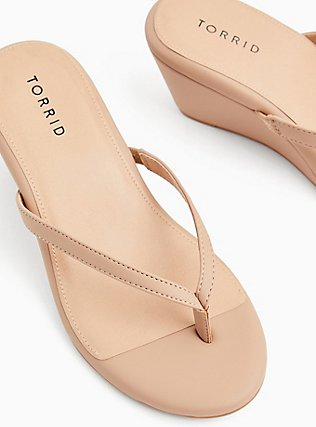 Nude Faux Leather Midi Wedge (WW), NUDE, alternate