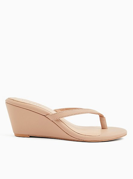 Beige Faux Leather Midi Wedge (WW), , hi-res