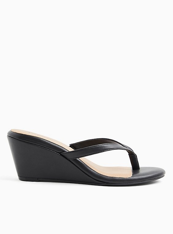 Black Faux Leather Midi Wedge (WW), , hi-res