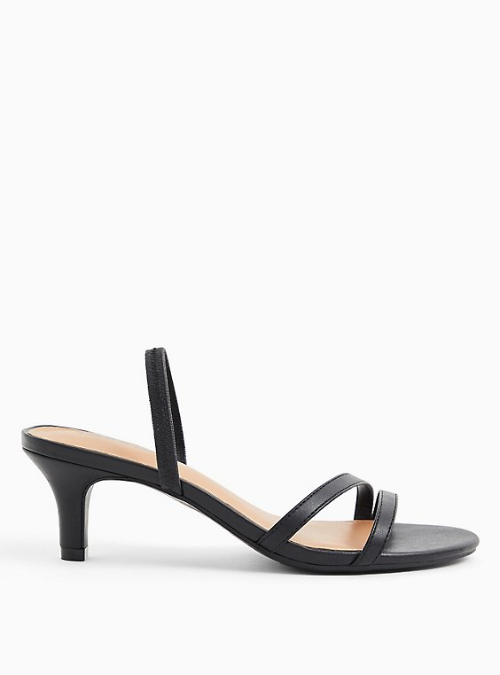 Black Faux Leather Slingback Heel (WW), BLACK, hi-res