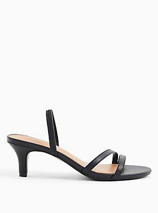 Black Faux Leather Slingback Heel (WW), BLACK, hi-res
