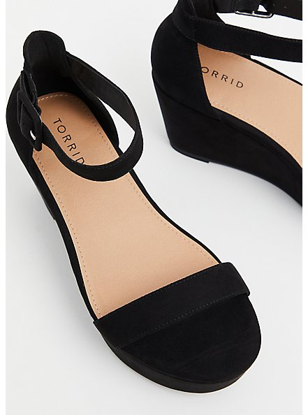 Black Faux Suede Ankle Strap Platform Wedge (WW), BLACK, alternate