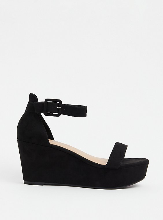 Plus Size Black Faux Suede Ankle Strap Platform Wedge (WW), , hi-res