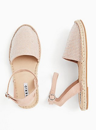 Blush Pink Faux Suede Rhinestone Espadrille Flat (WW), BLUSH, alternate