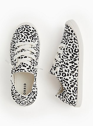 Black & White Leopard Ruched Sneaker (WW), WHITE, alternate