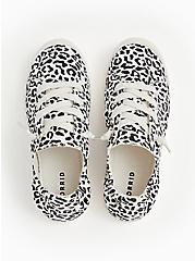 Black & White Leopard Ruched Sneaker (WW), WHITE, alternate
