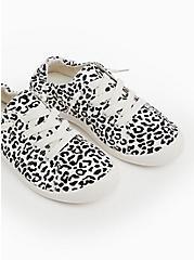 Black & White Leopard Ruched Sneaker (WW), WHITE, hi-res