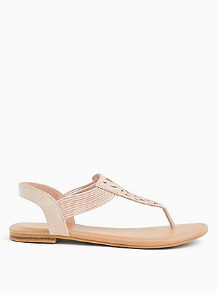 Blush Pink Faux Suede Rhinestone Laser Cut Sandal (WW), BLUSH, alternate