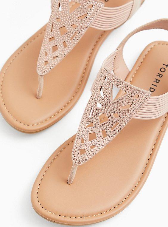 Plus Size Blush Pink Faux Suede Rhinestone Laser Cut Sandal (WW), , hi-res