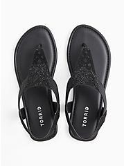 Plus Size Black Faux Suede Rhinestone Laser Cut Sandal (WW), BLACK, alternate