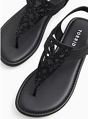 Plus Size Black Faux Suede Rhinestone Laser Cut Sandal (WW), BLACK, hi-res