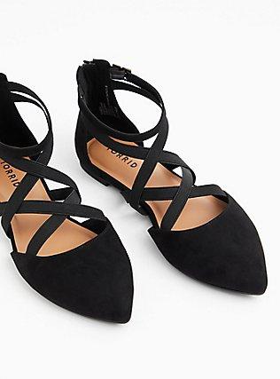 Black Faux Suede Elastic Strap Pointed Toe Flat (WW), BLACK, hi-res