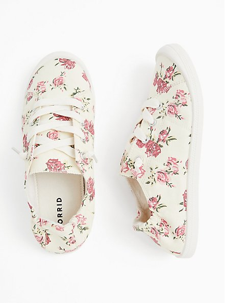 Riley - Ivory Floral Ruched Sneaker (WW), MULTI FORAL, alternate