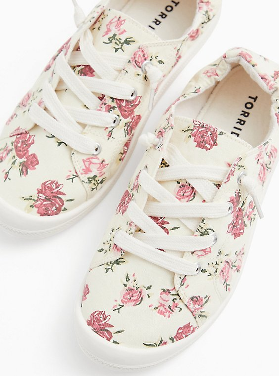 Plus Size Ivory Floral Ruched Sneaker (WW), , hi-res