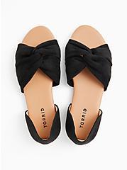 Plus Size Black Faux Suede Twist Front D'Orsay Flat (WW), BLACK, alternate
