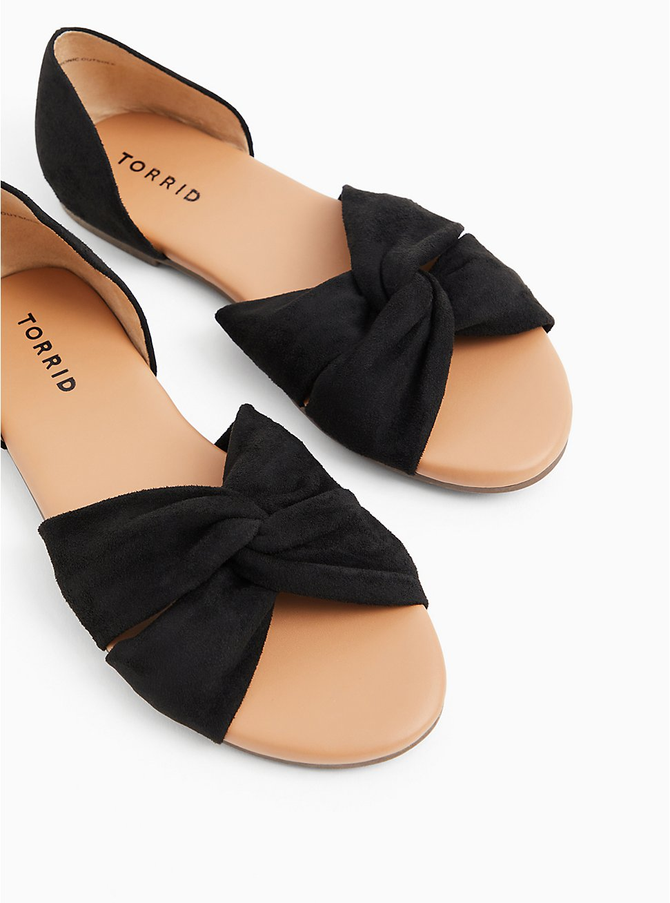 Plus Size Black Faux Suede Twist Front D'Orsay Flat (WW), BLACK, hi-res