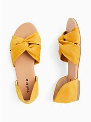 Mustard Yellow Faux Suede Twist Front D'Orsay Flat (WW), YELLOW, alternate