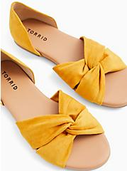 Mustard Yellow Faux Suede Twist Front D'Orsay Flat (WW), YELLOW, hi-res