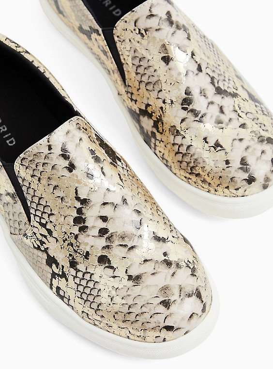 Snakeskin Print Faux Leather Slip-On Sneaker (WW), , hi-res