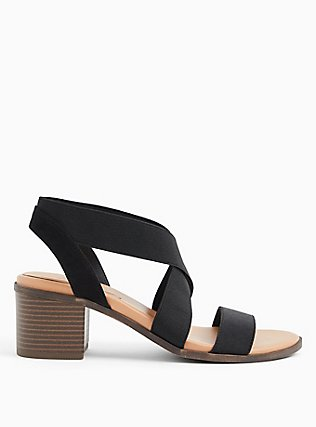 Black Elastic Strap Block Heel (WW), BLACK, alternate