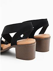 Black Elastic Strap Block Heel (WW), BLACK, alternate