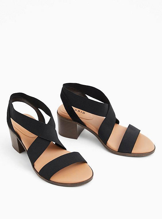 Black Elastic Strap Block Heel (WW), , hi-res