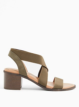 Olive Green Elastic Strap Block Heel (WW), OLIVE, alternate