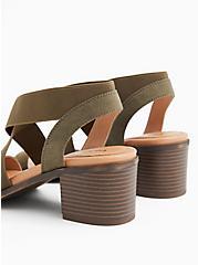Plus Size Olive Green Elastic Strap Block Heel (WW), OLIVE, alternate