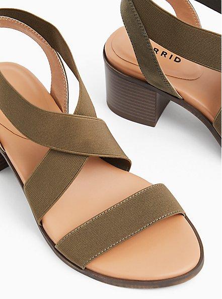 Olive Green Elastic Strap Block Heel (WW), OLIVE, alternate