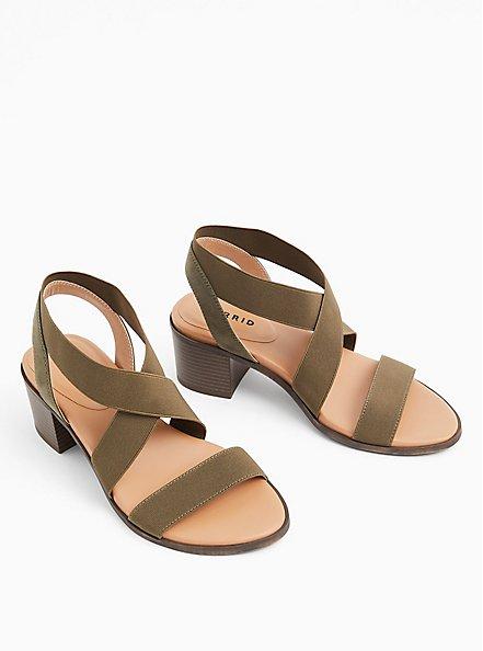 Olive Green Elastic Strap Block Heel (WW), OLIVE, hi-res