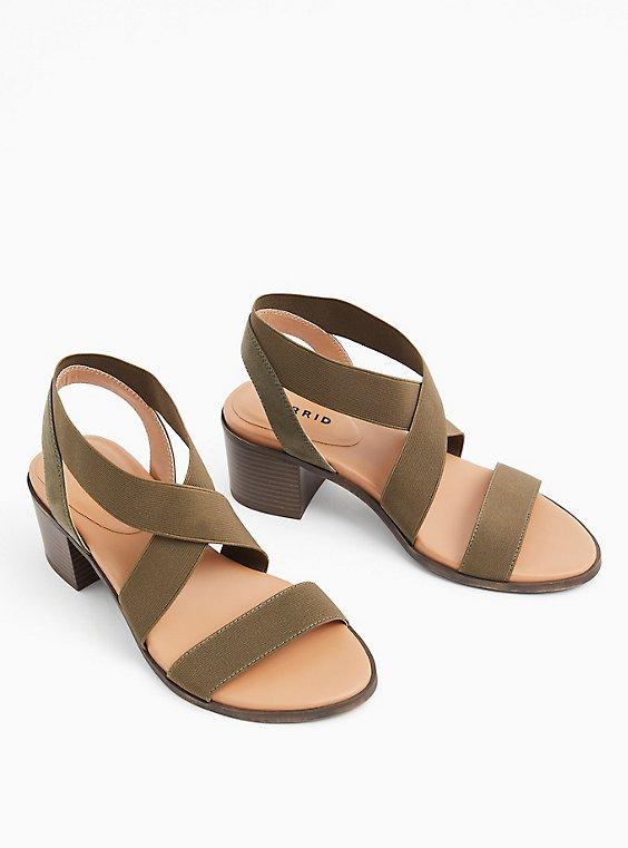Plus Size Olive Green Elastic Strap Block Heel (WW), , hi-res