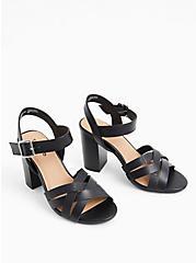 Black Faux Leather & Faux Crocodile Block Heel (WW), BLACK, alternate