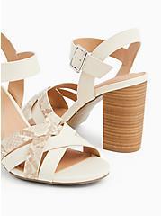 Ivory Faux Leather & Snakeskin Print Block Heel (WW), , alternate