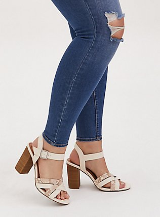 Plus Size Ivory Faux Leather & Snakeskin Print Block Heel (WW), NUDE, hi-res