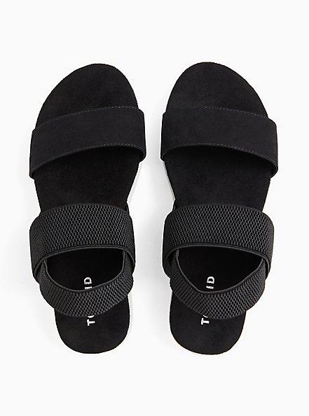 Plus Size Black Faux Suede Stretch Ankle Strap Sandal (WW), BLACK, alternate